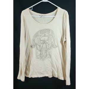 Lucky Lotus Womens Long Sleeve Design Shirt Sz L